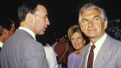 Mr Keating and Mr Hawke in 1988.
