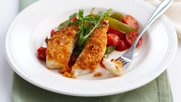 Chilli cashew crusted fish