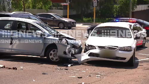 A teenager boy is in custody after a police pursuit of an allegedly stolen vehicle resulted in a four car crash in North Sydney this morning.