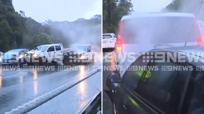 9NEWS cameraman captures pile-up while filming earlier accident