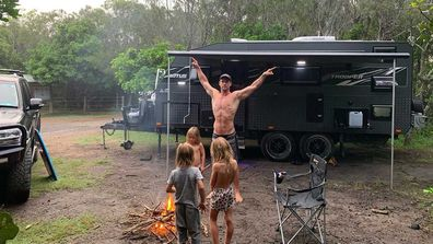 Chris Hemsworth and the family hired a caravan for the trip down the coast.