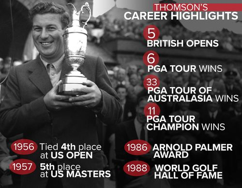 Peter Thomson won a number of titles over his impressive career, including the 1956 British Open. (AAP/9News)