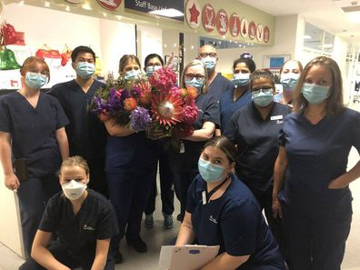 Liam Neeson sends staff at The Royal Melbourne Hospital flowers for their tireless work amid the pandemic.