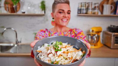 Jane de Graaff cooks coconut poached chicken salad for Quarantine Kitchen