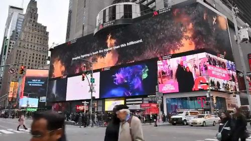 The Rural Fire Service (RFS) put this billboard up in New York's Times Square thanking firefighters.