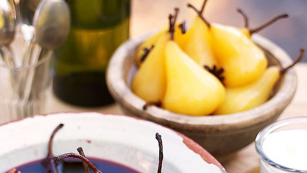 Poached pears with saffron