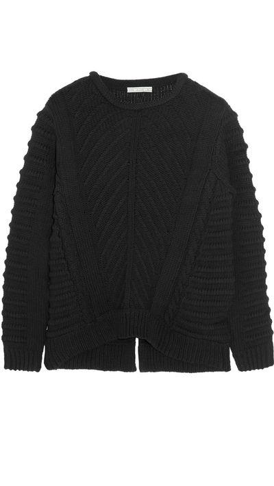 """<a href=""""http://www.net-a-porter.com/product/489033/Dagmar/emerald-wool-and-cotton-blend-sweater"""" target=""""_blank"""">Emerald Wool and Cotton-Blend Sweater, $334.07, Dagmar</a>"""
