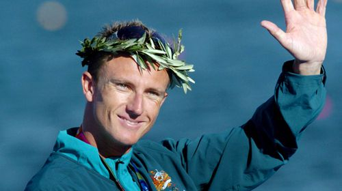 Australian Nathan Baggaley, seen here celebrating after receiving a silver medal in the K1 500 mens event at the 2004 Olympic Games in Athens. (AAP).