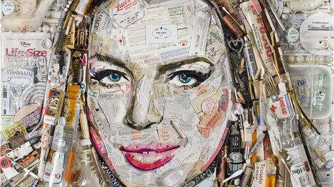 Lindsay Lohan portrait made entirely of trash