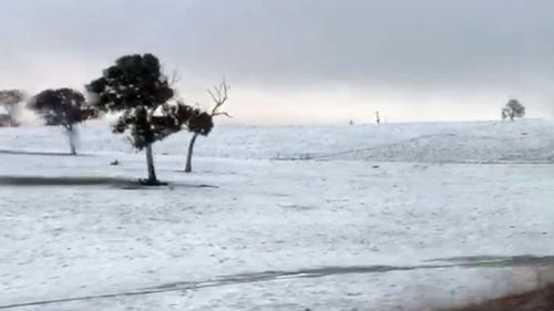 Snow falls in Goulburn, New South Wales, as a polar blast hits the south-east of Australia.
