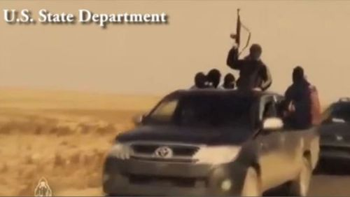 The original video shows graphic executions and bombings.