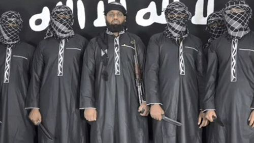An image released by Islamic State's media agency purporting to show the Sri Lanka bombers.