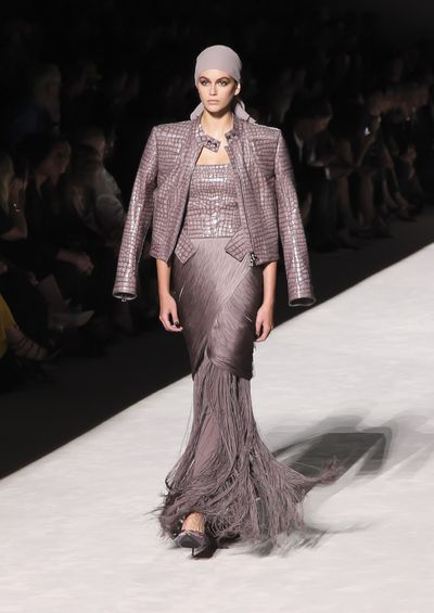 Kaia Gerber walking the runway for Tom Ford's spring/summer 2019 collection for New York Fashion Week, September, 2018