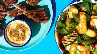 "Recipe:&nbsp;<a href=""http://kitchen.nine.com.au/2017/03/13/11/12/lamb-cutlets-with-haloumi-salad"" target=""_top"">Lamb cutlets with haloumi and potato salad</a>"