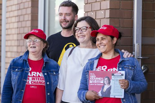 Labor Party Batman by-election candidate Ged Kearney meets with supporters in Northcote, Melbourne, Friday, March 9, 2018. A by-election for the Australian House of Representatives seat of Batman will be held on 17 March 2018. (AAP Image/Daniel Pockett)