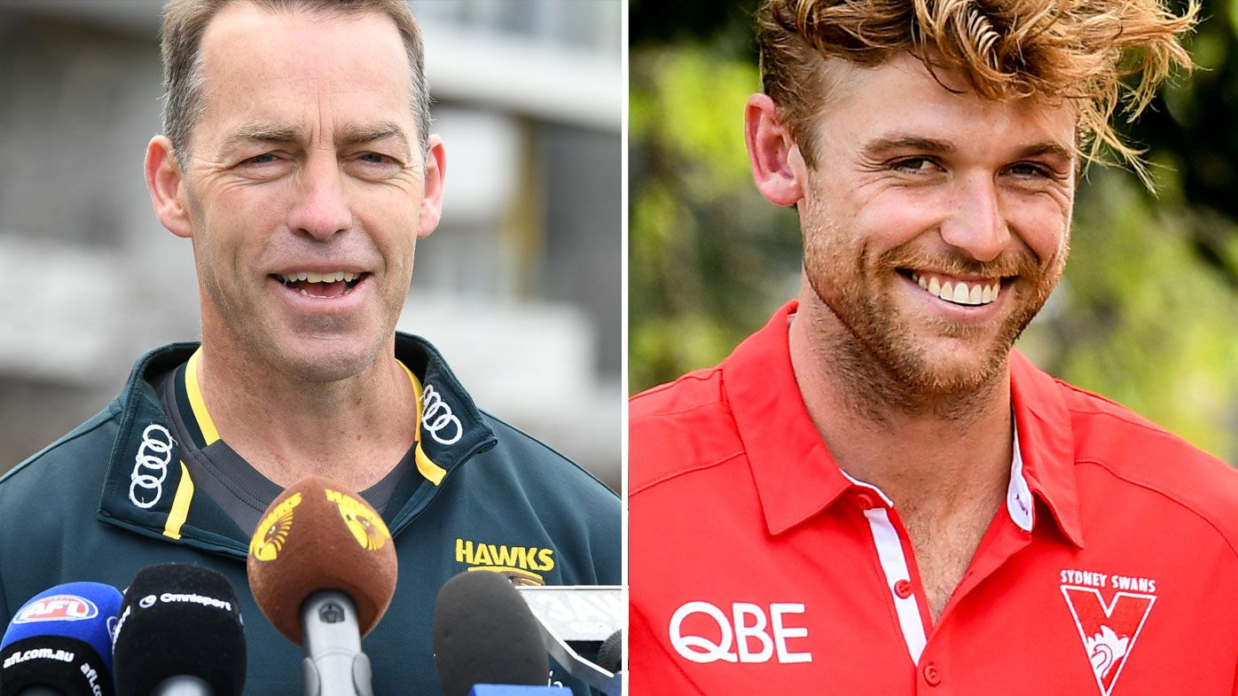 Dane Rampe ribs umpire about meeting with Hawthorn coach Alastair Clarkson