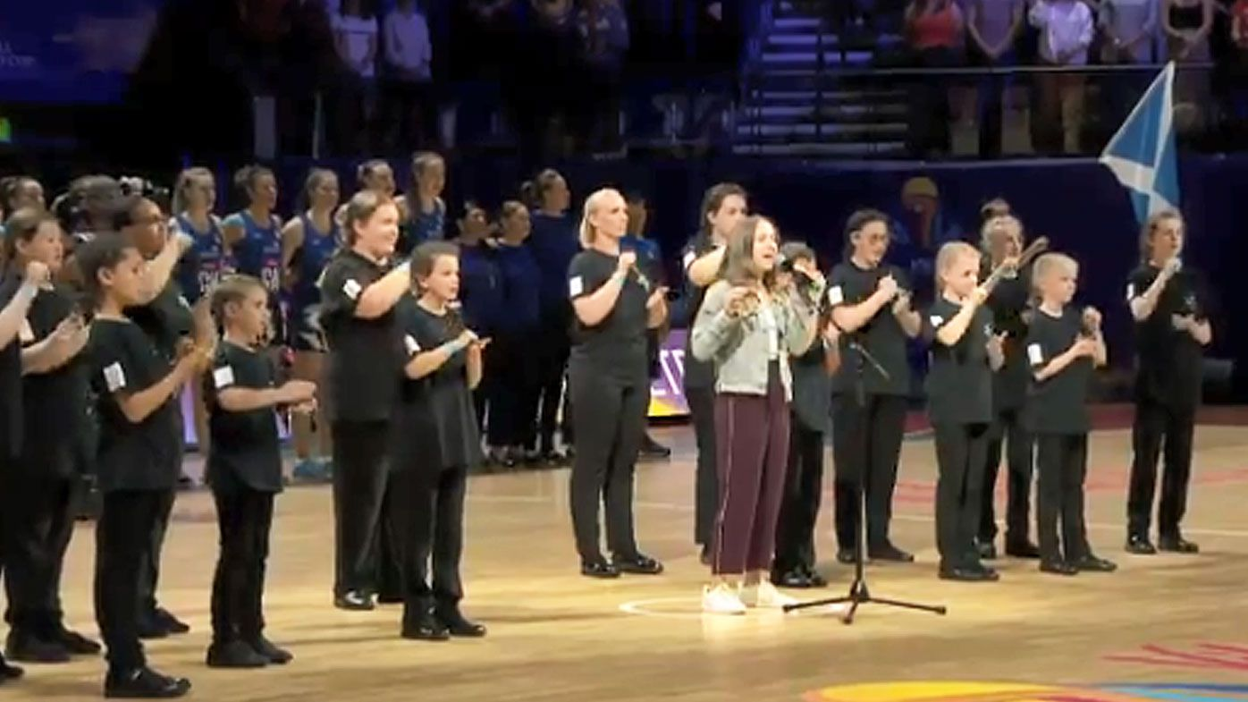 Everitt doing the national anthem at the Netball World Cup.