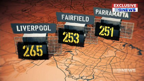 The highest number of offenders on parole are in Liverpool, Fairfield and Parramatta. (9NEWS)