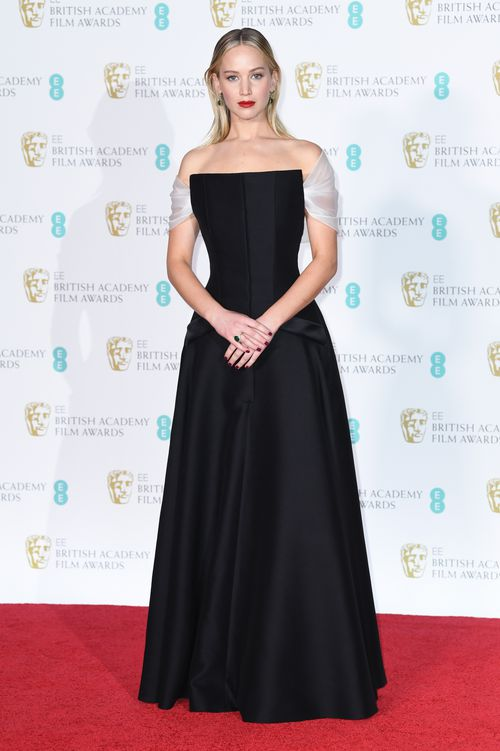 At the BAFTA Awards, Lawrence donned a less revealing black gown in keeping with the MeToo campaign. (AAP)