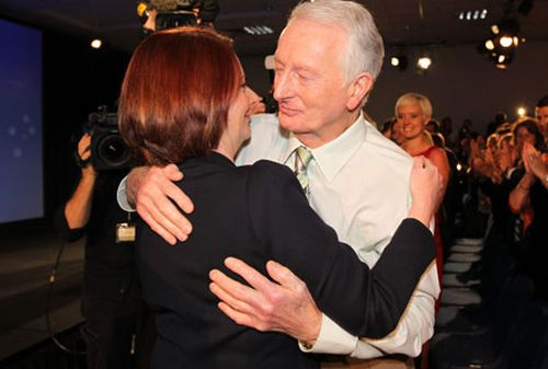 Julia Gillard with her father, John. (AAP)