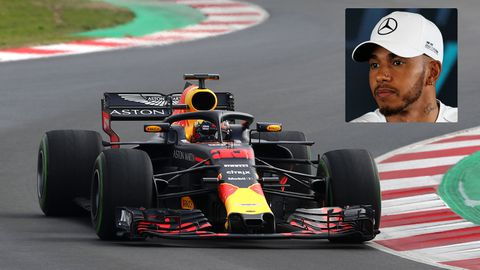 Max Verstappen and Lewis Hamilton (inset)