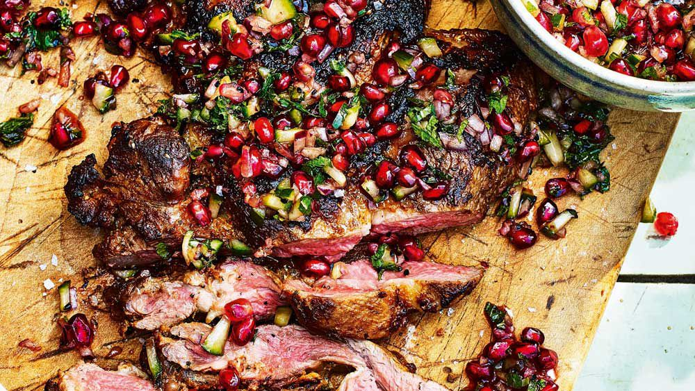 Butterflied leg of lamb with pomegranate salsa by Sabrina Ghayour