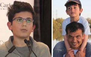 Young son of Iran plane crash victim delivers emotional speech to commemorate father's life