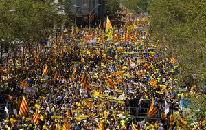 Huge rally in Barcelona to demand jailed Catalan separatists go free