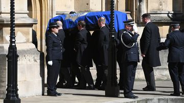 The body of PC Keith Palmer is carried into the Chapel of St Marys Undercorft in the Houses of Parliament. (AAP)