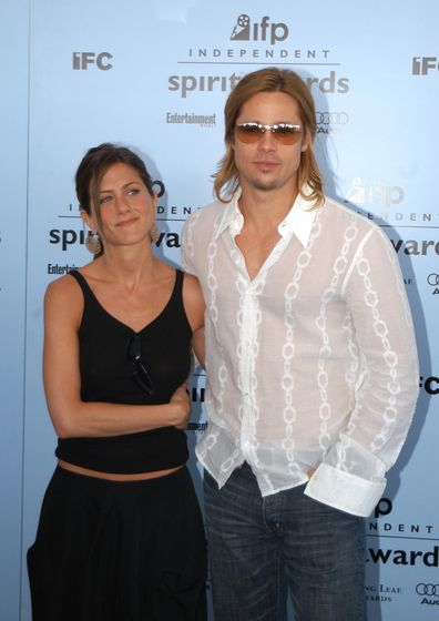 Jennifer Aniston and Brad Pitt during IFP Independent Spirit Awards at Santa Monica in 2003.