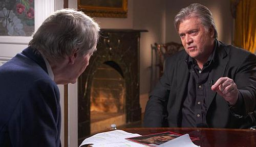 Steve Bannon talks with CBS reporter Charlie Rose on 60 Minutes. (Photo: CBS).