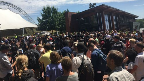 The organiser of the Unite the Right movement attempted to hold a press conference but was thwarted by the crowd. (Lizzie Pearl)