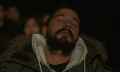 Shia appeared to be sleeping just four hours into the movie marathon. (Twitter)