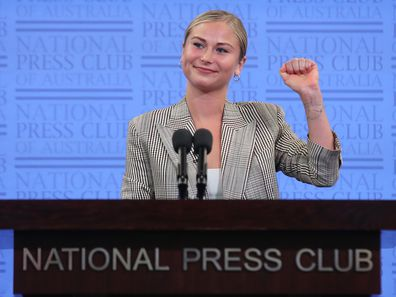 2021 Australian of the Year Grace Tame during her address to the National Press Club of Australia in Canberra on Wednesday 3 March 2021. fedpol Photo: Alex Ellinghausen