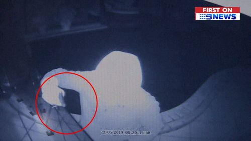 The alleged burglar was caught on security footage.