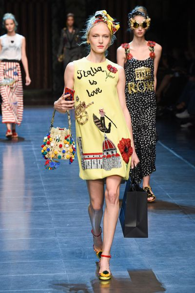 "The Coliseum, gondola rides, postcard prints, and dresses boasting ""Italia is love!"": try not to feel amore for the Italian patriotism in Dolce & Gabbana's SS16 collection."