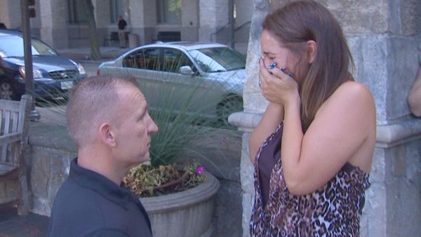 A couple have finally gotten engaged after their lost luggage was returned with the ring inside