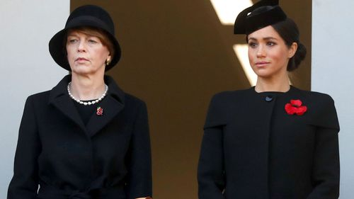 Meghan, Duchess of Sussex, and the wife of President of Germany Frank-Walter Steinmeier attend the Remembrance Sunday ceremony at the Cenotaph in London.