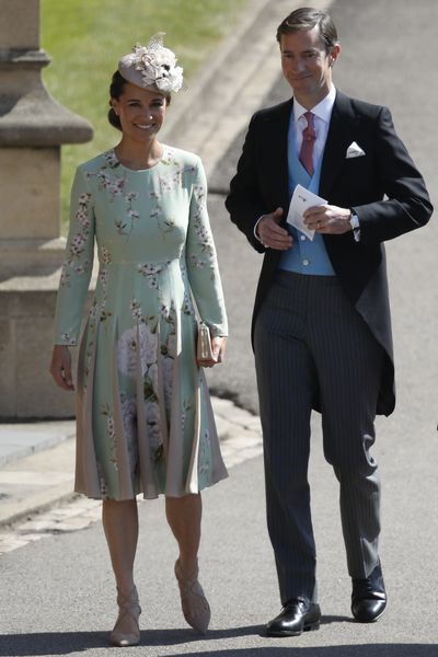 Duchess of Cambridge Kate Middleton's sister <strong>Pippa Middleton</strong> pictured, in label&nbsp;The Hepburn by The Fold, and her husband James Matthews arrives at the Royal wedding