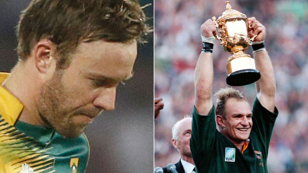 AB de Villiers after a loss at the recent World T20 and Francois Pienaar, who captained the Springboks to the 1995 Rugby World Cup. (AAP)