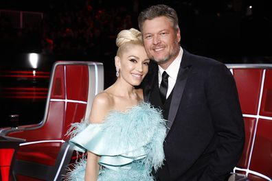 Gwen Stefani and Blake Shelton on the set of The Voice.