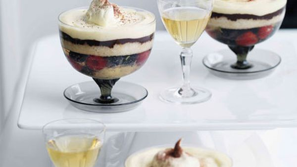 Blueberry Champagne and dark chocolate trifle