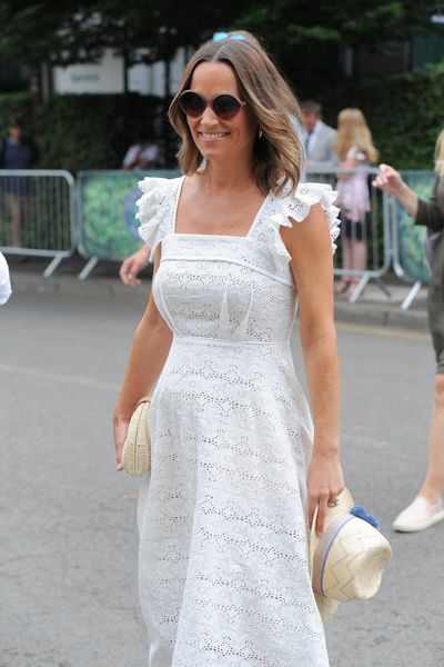 Pippa Middleton Matthews in a bespoke Broderie Anlaise Bergman dress by Anna Mason at the 2018 French Open, May 2018