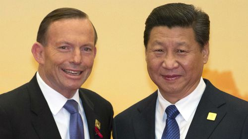 Prime Minister Tony Abbott meets with Chinese President Xi Jinping. (AAP)