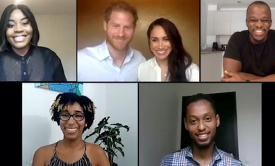 The Duke and Duchess of Sussex joined in the conversation from their home in LA.