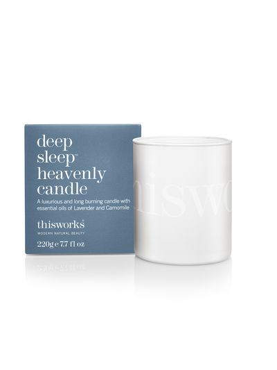 """<a href=""""http://mecca.com.au/this-works/deep-sleep-heavenly-candle/I-013459.html"""" target=""""_blank"""">This Works Deep Sleep Heavenly Candle, $69.</a>"""