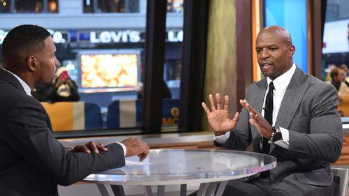 """Actor Terry Crews with """"Good Morning America"""" co-host Michael Strahan. (AAP)"""