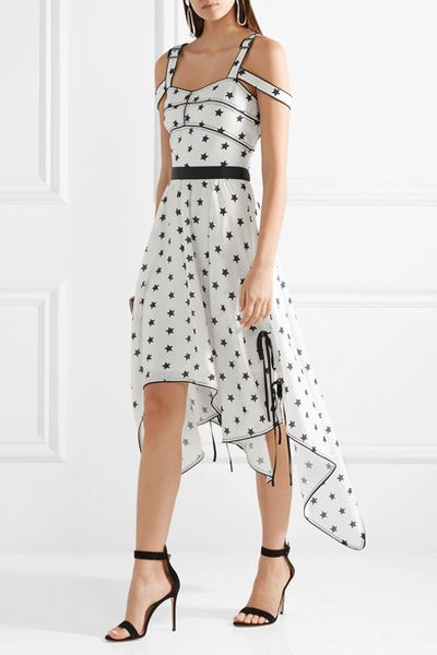 "<p><a href=""https://www.net-a-porter.com/au/en/product/1038506/self_portrait/asymmetric-cutout-printed-satin-midi-dress"" target=""_blank"" draggable=""false"">Starry Eyed</a></p> <p><a href=""https://www.net-a-porter.com/au/en/product/1038506/self_portrait/asymmetric-cutout-printed-satin-midi-dress"" target=""_blank"">Self-Portrait Asymmetric cutout Printed Satin Midi Dress, $411.48</a></p>"