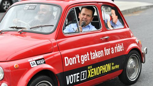 Nick Xenophon was criticised by the Electoral Commission for having too much advertising on his car. (AAP)