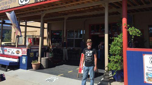 Frederick Akutsu-Brown at the RoadRunner Gift Store in Arizona. (Image: Simon Bouda)